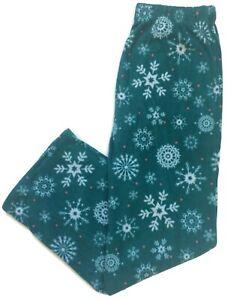 Great Northwest Womens Green Snowflake Fleece Sleep Pajama Pants Lounge Pants