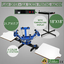 "4 Color 2 Station Silk Screen Printing 18"" Flash Dryer Adjustable Press Control"
