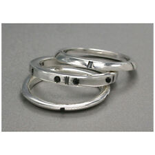 Onyx Tripartite Ring various sizes- Sterling Silver.925