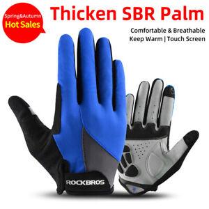 ROCKBROS Full Finger Spring Cycling Bike Gloves Touch Screen Sports Gloves Black