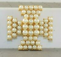 Pre Owned Costume Faux Pearl Maltese Cross Brooch Gold Tone