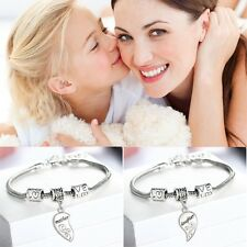 2Pcs  Charm Love Mother And Daughter Heart Bangle Bracelet Jewelry Set