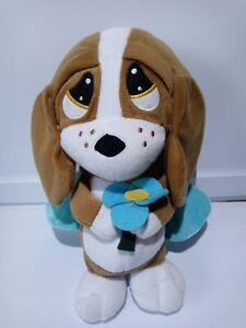 "SAD SAM and Honey HOUND DOG W/ BLUE WINGS AND FLOWER 12"" Plush STUFFED Toy"