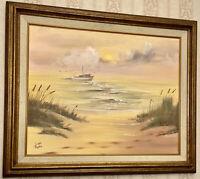 Vintage Linda Rustin Ocean View Fishing Boat Framed Oil on Canvas Painting 25x21
