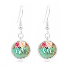 Phrase Art , Faith Photo Art Glass Cabochon 16mm Charm Earring Earring Hooks