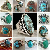 Wholesale Handmade 925 Silver Turquoise Ring Women Men Vintage Jewelry Size 6-10