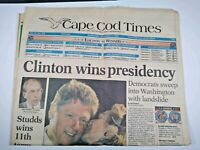 CAPE COD TIMES MA NEWSPAPER Nov. 4 1992 CLINTON WINS PRESIDENCY Democrats Sweep