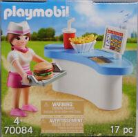 Playmobil Ei 70084 Kellnerin mit Diner-Theke Hamburger Pommes Getränk Tablet NEU
