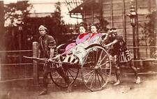 Tinted Albumen image c1880's Historic Japan women Jinricksha servants rickshaw