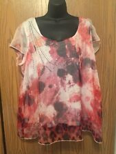 Apt 9 Top Womens Plus Size 1X Short Cap Sleeve Sheer Overlay Pink White Studded