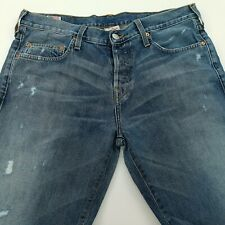 True Religion Geno Mens Jeans W35 L33 Blue Regular Fit Straight High Rise Button