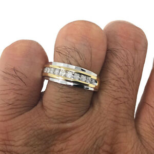 Mens Genuine Diamond+10K White & Yellow Gold .25ct Wedding Band Ring Channel Set