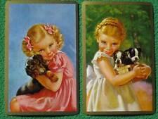 Little Blonde Girls & Their Puppy Dogs Art Swap Cards Boston Terrier & Dachshund