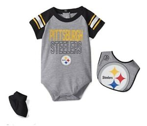 Pittsburgh Steelers Football 3 Pc Infant Baby Creeper Bib Booties Set Outerstuff