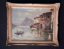 LAGO DI Lugano. Lugano LAGO. Original antiguo Pintura al óleo,sign.t IRO
