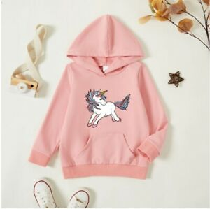 size 18-24m to 5-6 years new girls long sleeve top pink unicorn hooded top