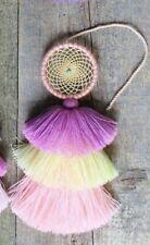 Dream Catcher Mayan Indian Handmade Tassel Pastel Color Chiapas Mexican Folk Art