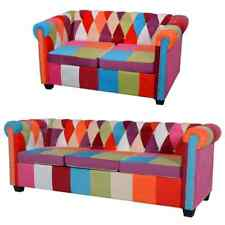 vidaXL Sofá de Dos o TresPlazas Chesterfield Tapizado Tela Multicolor Sillón Bip