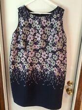Talbots Women's Sz 22W Blue/White/Pink Floral Lined Sheath Sleeveless Dress