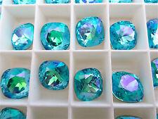 4 Lt Turquoise Glacier Blue Swarovski Crystal Square Cushion Cut Stone 4470 12mm