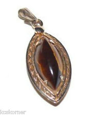 Tiger Eye Pendant Gold Filled Hand Crafted Artisan 7/8""