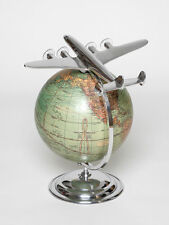 Globus Mit Flugzeug Vintage-Antik-Look Deko Weltkugel Weltkarte Geschenk Gravur