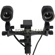 Studio Twin/Double E27 AC Swivel Socket Umbrella Bracket Flash Lamp Bulb Holder