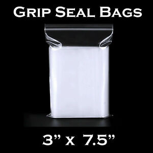 Small Clear Plastic Resealable Bags Baggy Baggies Grip 3 inches x 7.5 inches NEW