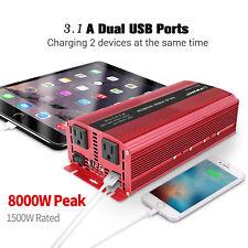 Power Inverter 1500W 8000W 12V to 110V 120V Car Van Converter US Plug USB LED