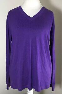 Jones New York Sport Women's Purple Pansy Longsleeve Sport Shirt Size 1X