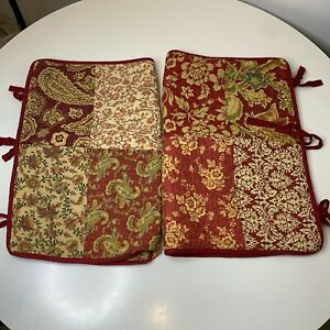 Linden street sham pillowcase pair 2 quilted pocket closure red tan floral p