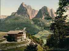 Tirol. Bauernhaus bei Seis mit Schlern.  PZ vintage photochromie, photochrom p