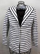 GIVENCHY Black White Stripe Tailored Patent Shoulder Blazer Jacket 36 4 Italy