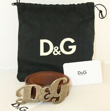 LUXUS DOLCE AND GABBANA GUERTEL LOGO DG BELT BRAUN NEU NEW 75