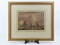 """Antique Watercolour Signed William Henry Pyne Dated 1828 """"Fishermen on the Coast"""