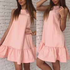 Women's Casual Sleeveless Mini Short Dress Summer Ruffle Beach A Type Dress