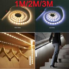 Battery Powered LED Strip Lights PIR Motion Sensor Wardrobe Closet Lamp Light UK