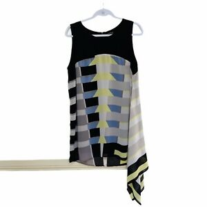 Womens Katie's Top Plus Size 14 Sleeveless Geometric Lined Black Drape Party