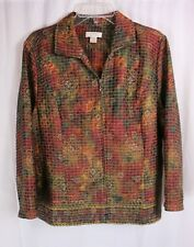 CHRISTOPHER & BANKS MULTI-COLOR QUILTED ZIP FRONT LONG SLEEVE JACKET SZ XL #L607
