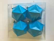 4 Turquoise Geometric 2.5 Inch Shatter Resistant Ornament Christmas Decoration