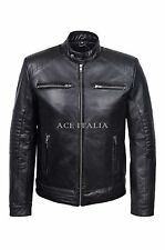 Men's Black Washed Biker Motorcycle Style Real Hide Leather Jacket Fielder