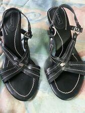 """Harley Davidson Women's Black Leather Sandals 4"""" Stiletto Heels Strappy Sandals"""
