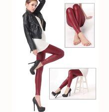 Para Mujeres Cuero PVC Rojo Vino Mate Leggings Cintura Elástica Pantalones Ajustados Pantalones-M