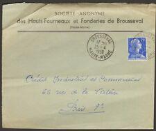 52 BROUSSEVAL ENVELOPPE HAUTS-FOURNEAUX ET FONDERIES 1958