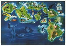 Colorful Islands of Hawaii, Oahu, Maui, Fish, Cruise Ship etc State Map Postcard