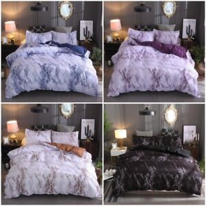 Marble Doona Duvet Quilt Cover Set Single Double Queen King Size Bed Pillowcase