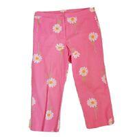 Lilly Pulitzer Signature Pink Daisy Print Cropped Capri Pants Sz 12 Petite 12P