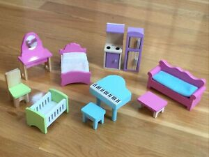 Vintage KIDKRAFT LOT Wooden Dollhouse Furniture Toys Bed Kitchen Sofa Piano Crib
