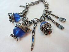 Vintage Charm Bracelet Blue Glass Teapot Silverware Silver Tone Metal 1960's!!!!
