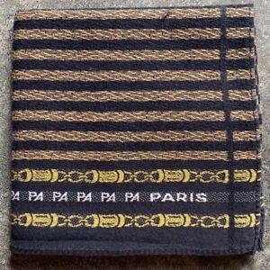 """MEN'S HANDKERCHIEF ART VINTAGE PARIS BLACK STRIPED LINE CHAIN POCKET SQUARE 17"""""""